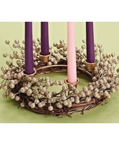 Advent Wreath 14 inch with Champagne Berry