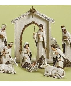 Nativity Set Ivory/Gold Figures