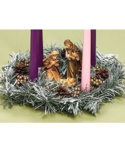 Advent Wreath 11 inch with Holy Family Frosted Pine Cones