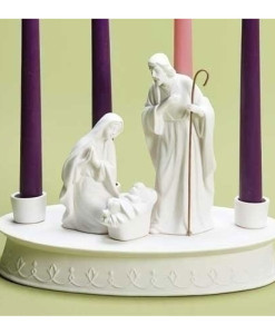 Advent Wreath Porcelain with Holy Family
