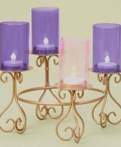 Advent Wreath Votive Candle Holder with Glass Chimneys