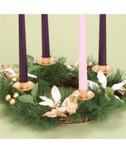 "Advent Wreath 14"" Ivory Poinsettia"