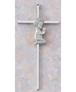 "Baby Boy 7"" Nickel Plated Cross"