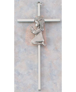 "Baby Girl 7"" Nickel Plated Cross"