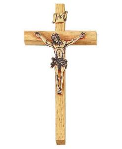 """Oak 8"""" Crucifix Antique Gold Finish"""