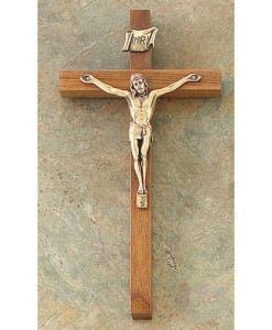 "Walnut 8"" Crucifix Antique Pewter Finish"