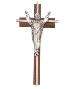 "Walnut 8"" Crucifix Risen Christ w/Nickel Plated Inlay Antique Pewter Finish"