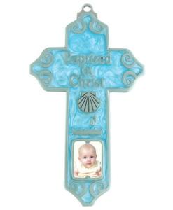 "Baptism Boy 5"" Photo Insert Cross"