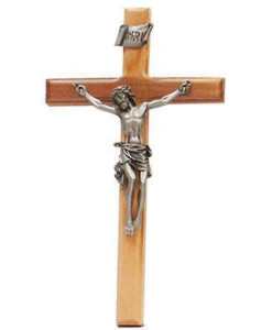 Olive Wood 8 inch Beveled Edge Crucifix