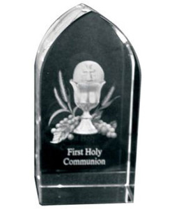 First Communion | Etched Images Embedded in Arch Shape Glass