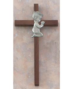 "Praying Boy 8"" Walnut Wall Cross"