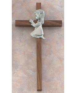 "Praying Girl 8"" Walnut Wall Cross"