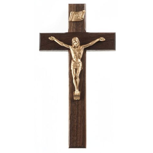 "Walnut 8"" Crucifix Gold Finish"