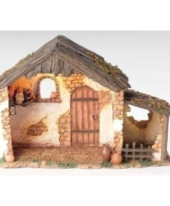 "Lighted 10 inch Stable for Fontanini® 5"" Nativity Collection"