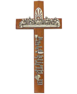 Notched Walnut Wood Last Supper 12 inch Cross