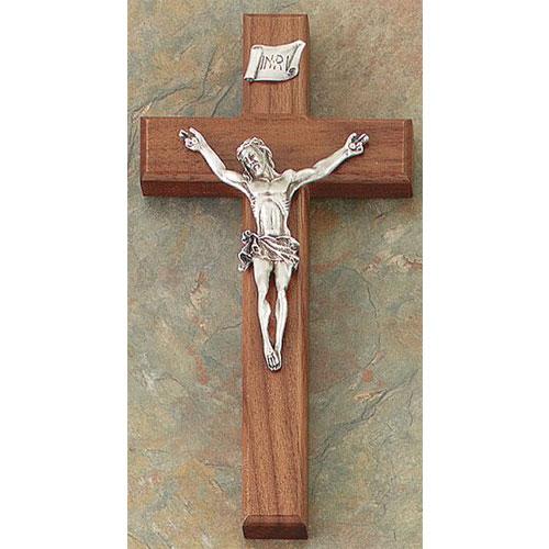 "Walnut 8"" Crucifix Antique Pewter Finish"