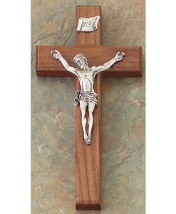 "Walnut 8"" Crucifix Antique Gold Finish"