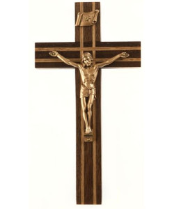 "Walnut 8"" Crucifix w/Oak Inlay Antique Gold Finish"