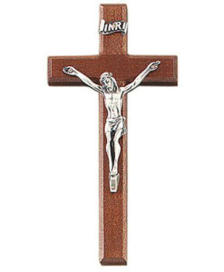 "Walnut 6.25"" Crucifix Antique Pewter Finish"