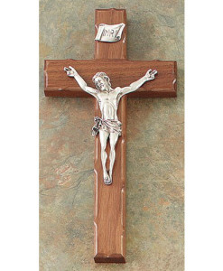 "Walnut Notched Edge 8"" Crucifix Antique Gold Finish"