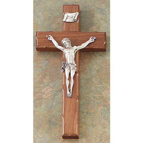 "Walnut Notched Edge 8"" Crucifix Antique Gold Finish"