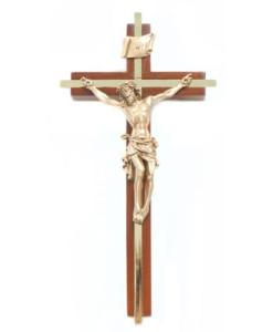 "Walnut 8"" Crucifix w/Gold Plated Inlay Antique Gold Finish"