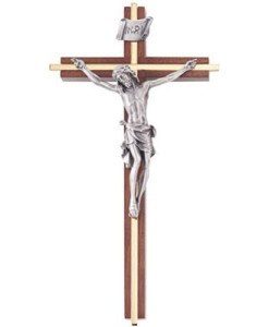 """Walnut 8"""" Crucifix w/Gold Plated Inlay Antique Pewter Finish"""