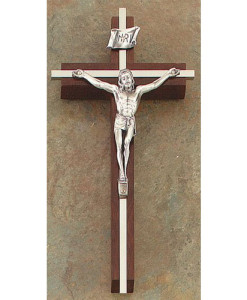 "Walnut 8"" Crucifix w/Nickel Plated Inlay Antique Pewter Finish"