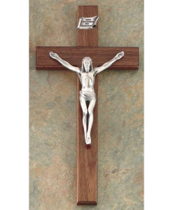 "Walnut 8"" Shroud of Turin Crucifix Antique Pewter Finish"
