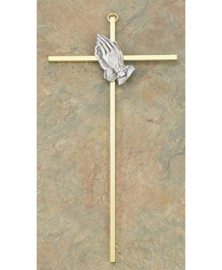 "Praying Hands 10"" Cross"
