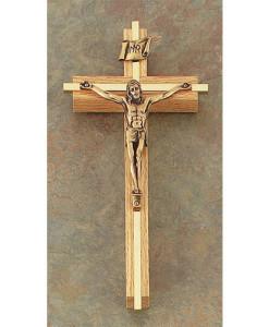 "Oak 8"" Crucifix w/Gold Plated Inlay Antique Gold Finish"