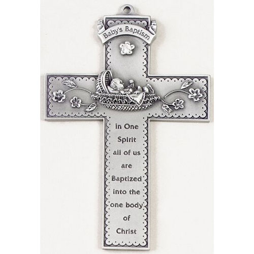 """Baby in bunting 5"""" Wall Cross"""