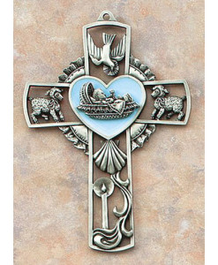 "Baby Boy in Bunting 5"" Wall Cross"