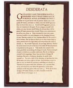 Desiderata Parchment Plaque