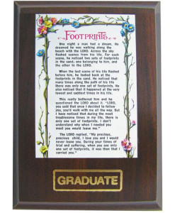Footprints Graduation Plaque