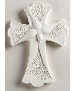 Confirmation Lace Dove 7.4 inch Cross