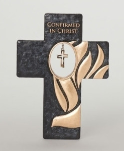 Confirmation Crossfish Black and Gold 7 inch Wall Cross