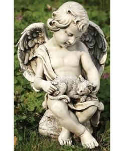 Cherub with Kitten Statue