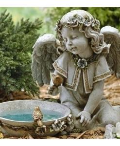 Solar Angel Birdbath