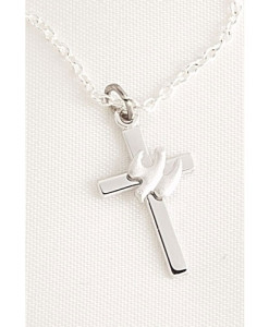 Confirmation Cross with Dove Pendant in Blue Velvet Box