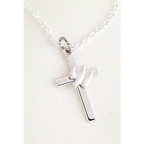 Confirmation Cross with Dove Pendant in Blue Velvet Box