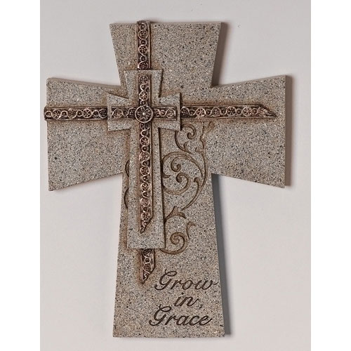 Confirmation Grow In Grace Gray Stone Scroll Design 7 inch Wall Cross