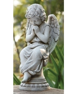 Seated Angel on Pedestal Statue
