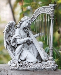 Kneeling Angel Harp Statue Wind Chime