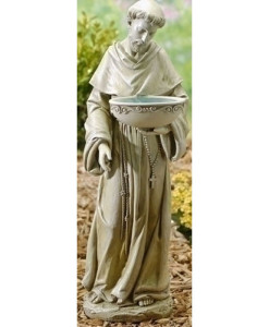 Solar St. Francis Birdbath Statue