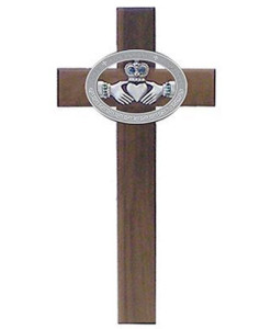 Walnut with Celtic Claddagh Cross 10 inch