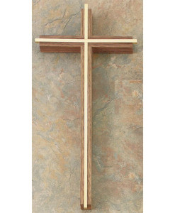 Walnut Wood with Gold Inlay 12 inch Cross