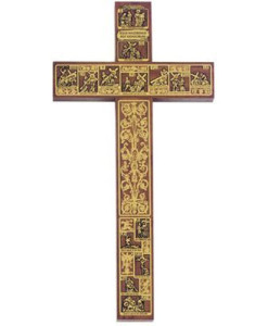 Walnut Wood Stations Of The Cross 12 inch Cross