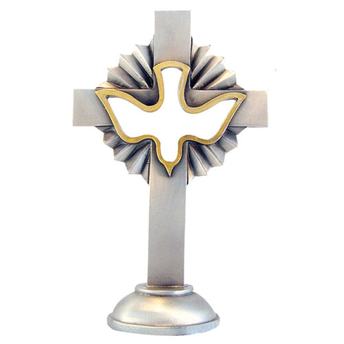 Dove 4 inch Confirmation Pewter Cross