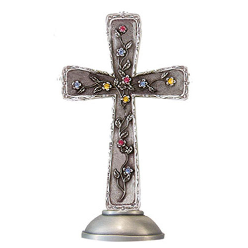 Floral 4 inch Pewter Cross